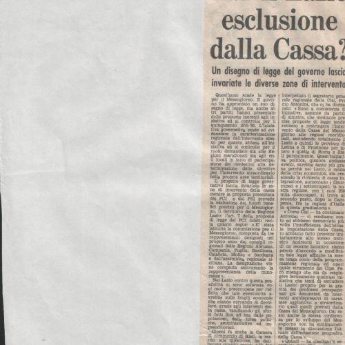 Lazio esclusione Casmez